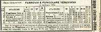 Funicolari del Vesuvio - Orario 1926.